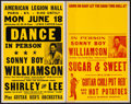 """Movie Posters:Rock and Roll, Sonny Boy Williamson II Lot (Late 1950s). Concert Window Cards (2)(14"""" X 22""""). Rock and Roll.. ... (Total: 2 Items)"""