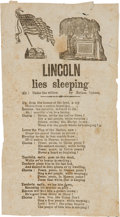 Political:Memorial (1800-present), Abraham Lincoln: Mourning Song Sheet....