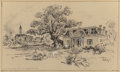 "Fine Art - Work on Paper:Drawing, Edward Muegge ""Buck"" Schiwetz (American, 1898-1984). The Old Dr.Lay House with View of Halletsville, Texas, 1955. Penci..."