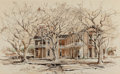 "Fine Art - Work on Paper:Watercolor, Edward Muegge ""Buck"" Schiwetz (American, 1898-1984). John WesleyMann House, 1962. Ink and watercolor on paperboard. 12-..."