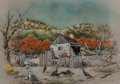 "Fine Art - Painting, American:Contemporary   (1950 to present)  , Edward Muegge ""Buck"" Schiwetz (American, 1898-1984). Cabin LostMaples, Sabinal Canyon, 1980. Mixed media on board. 15-3..."
