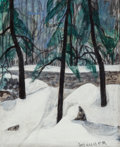 Works on Paper, George Grammer (American, b. 1928). Cosmos Volunteers and Snow and Hemlock (two works). Watercolor and acrylic on pa... (Total: 2 Items)