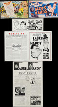 """Movie Posters:Comedy, Laurel and Hardy Lot (MGM & 20th Century Fox, 1933-1944).Heralds (2) (6.75"""" X 11"""" & 6.75"""" X 11.5""""), Uncut Pressbooks (2)(4... (Total: 5 Items)"""