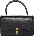 Luxury Accessories:Bags, Hermes Shiny Black Crocodile Sac Chaine d'Ancre Bag with GoldHardware. Circa 1960's. Good to Very Good Condition....