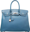 "Luxury Accessories:Bags, Hermes 35cm Blue Thalassa Calf Box Leather Birkin Bag with BrushedPalladium Hardware. G Square, 2003. Good Condition. 14""..."