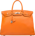 "Luxury Accessories:Bags, Hermes 40cm Orange H Clemence Leather Birkin Bag with PalladiumHardware. D Square, 2000. Very Good Condition. 15.5""Width..."