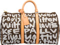 Luxury Accessories:Travel/Trunks, Louis Vuitton Limited Edition White Monogram Graffiti CanvasKeepall 50 Weekender Bag by Stephen Sprouse. ExcellentCondit...