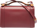 """Luxury Accessories:Bags, Hermes Rouge H Calf Box Leather Train Case Bag with GoldHardware. Circa 1960's. Very Good Condition. 11"""" Width x 7.5""""Hei..."""