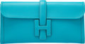 "Luxury Accessories:Bags, Hermes Turquoise Swift Leather Jige Elan Clutch Bag. R Square,2014. Excellent to Pristine Condition. 11"" Width x 6"" Heigh..."