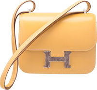 Hermes Limited Edition 18cm Paille Tadelakt Leather & Agate Nilo Lizard Marquette Constance Bag with Palladium Hardw...
