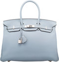 """Luxury Accessories:Bags, Hermes 35cm Blue Lin Togo Leather Birkin Bag with PalladiumHardware. Q Square, 2013. Excellent Condition. 14"""" Width x10""""..."""
