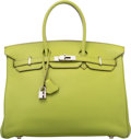 """Luxury Accessories:Bags, Hermes 35cm Vert Anis Togo Leather Birkin Bag with Palladium Hardware. I Square, 2005. Excellent Condition. 14"""" Wi..."""