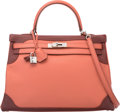 Luxury Accessories:Bags, Hermes Limited Edition 35cm Rose Tea & Rouge H Swift LeatherGhillies Retourne Kelly Bag with Palladium Hardware. QSquare...