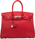 Luxury Accessories:Bags, Hermes 35cm Vermillion Chevre Coromandel Leather Birkin Bag with Palladium Hardware. G Square, 2003. Very Good Condition. ...