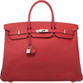 Luxury Accessories:Bags, Hermes 40cm Rouge Garance Vache Trekking Leather Birkin Bag with Palladium Hardware. N Square, 2010. Excellent Conditi...