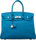 Luxury Accessories:Bags, Hermes 35cm Blue Izmir Epsom Leather Birkin Bag with PalladiumHardware. R Square, 2014. Excellent to Pristine Condition....