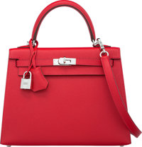 Hermes 25cm Rouge Casaque Epsom Leather Sellier Kelly Bag with Palladium Hardware X, 2016 Pristin