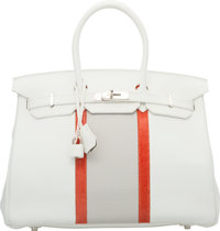 Hermes Limited Edition 35cm White & Gris Perle Clemence Leather and Sanguine Nilo Lizard Club Birkin Bag with Pallad...