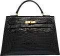"Luxury Accessories:Bags, Hermes 32cm Shiny Black Crocodile Sellier Kelly Bag with GoldHardware. Circa 1950's. Very Good Condition. 12.5"" Width x9..."