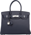 "Luxury Accessories:Bags, Hermes 30cm Indigo Togo Leather Birkin Bag with Palladium Hardware.T, 2015. Excellent to Pristine Condition. 12""..."