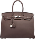 "Luxury Accessories:Bags, Hermes 35cm Chocolate Togo Leather Birkin Bag with PalladiumHardware. O Square, 2011. Very Good Condition. 14"" Width x10..."