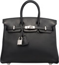 Luxury Accessories:Bags, Hermes 25cm Black Swift Leather Birkin Bag with Palladium Hardware.R Square, 2014. Excellent to Pristine Condition...