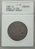 Colonials, 1787 FUGIO Fugio Cent, UNITED Above, K-11A, -- Planchet Defect -- Fine 12 ANACS. PCGS Population (0/12). NGC Census: (0/1)....