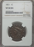 Large Cents: , 1821 1C VF30 NGC. NGC Census: (9/39). PCGS Population (13/102). Mintage: 389,000. ...