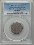 1652 Pine Tree Shilling, Small Planchet, -- Damage -- PCGS Genuine. AG Details. NGC Census: (0/120). PCGS Population (3/...
