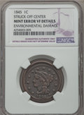 Large Cents, 1845 1C -- Environmental Damage, Struck Off Center -- NGC Details. VF. NGC Census: (5/201). PCGS Population (8/313). Minta...