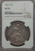 Seated Dollars: , 1843 $1 AU53 NGC. NGC Census: (41/203). PCGS Population (47/173). Mintage: 165,100. . From the Dr. Bruce Mesara Collect...