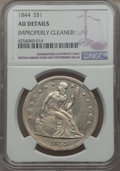 Seated Dollars: , 1844 $1 -- Improperly Cleaned -- NGC Details. AU. NGC Census: (15/101). PCGS Population (38/118). Mintage: 20,000. CDN Wsl....
