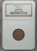 Indian Cents: , 1894/1894 1C Repunched Date , FS-301 , S-1 AU58 NGC. NGC Census: (9/20). PCGS Population (1/2). Mintage: 16,752,132. CDN Ws...