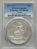 Trade Dollars: , 1873-CC T$1 -- Cleaning -- PCGS Genuine. AU Details. NGC Census: (2/102). PCGS Population (21/121). Mintage: 124,500. CDN W...