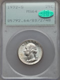 Washington Quarters, 1932-S 25C MS64 PCGS. CAC. PCGS Population (1156/153). NGC Census:(592/78). Mintage: 408,000. CDN Wsl. Price for problem f...