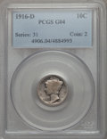 1916-D 10C Good 4 PCGS. PCGS Population (1423/2730). NGC Census: (527/1125). Mintage: 264,000. CDN Wsl. Price for proble...