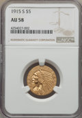 Indian Half Eagles: , 1915-S $5 AU58 NGC. NGC Census: (469/275). PCGS Population (169/290). Mintage: 164,000. CDN Wsl. Price for problem free NGC...