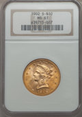 Liberty Eagles, 1902-S $10 MS61 NGC. NGC Census: (247/2560). PCGS Population (224/2162). Mintage: 469,500. . From The Pennsylvania ...