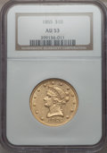 1855 $10 AU53 NGC. NGC Census: (75/381). PCGS Population (26/92). Mintage: 121,701. From The Pennsylvania Common ...(PCG...