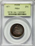 Proof Seated Quarters, 1871 25C PR64 PCGS. PCGS Population (38/9). NGC Census: (29/28).Mintage: 960. CDN Wsl. Price for problem free NGC/PCGS coi...