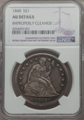 Seated Dollars: , 1848 $1 -- Improperly Cleaned -- NGC Details. AU. NGC Census: (8/54). PCGS Population (31/96). Mintage: 15,000. CDN Wsl. Pr...