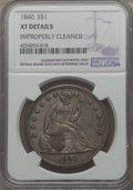 1840 $1 -- Improperly Cleaned -- NGC Details. XF. NGC Census: (20/204). PCGS Population (57/233). Mintage: 61,005. CDN W...