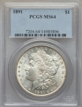 1891 $1 MS64 PCGS. PCGS Population (1994/171). NGC Census: (1193/112). Mintage: 8,694,206. CDN Wsl. Price for problem fr...