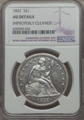 Seated Dollars: , 1842 $1 -- Improperly Cleaned -- NGC Details. AU. NGC Census: (62/314). PCGS Population (99/269). Mintage: 184,618. CDN Wsl...