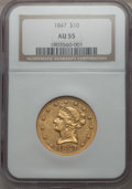 Liberty Eagles, 1847 $10 AU55 NGC. NGC Census: (282/252). PCGS Population (38/60). Mintage: 862,258. . From The Pennsylvania Common...