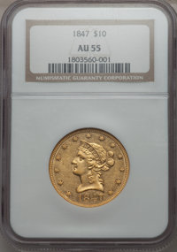 1847 $10 AU55 NGC. NGC Census: (282/252). PCGS Population (38/60). Mintage: 862,258. From The Pennsylvania Common...(PCG...