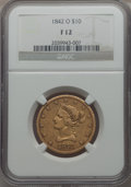 Liberty Eagles, 1842-O $10 Fine 12 NGC. NGC Census: (1/243). PCGS Population (1/154). Mintage: 27,400. . From The Pennsylvania Comm...