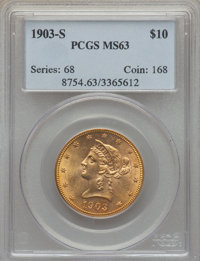 1903-S $10 MS63 PCGS. PCGS Population (252/298). NGC Census: (239/300). Mintage: 538,000. CDN Wsl. Price for problem fre...