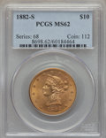 1882-S $10 MS62 PCGS. PCGS Population (91/18). NGC Census: (84/25). Mintage: 132,000. CDN Wsl. Price for problem free NG...
