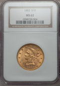1883 $10 MS62 NGC. NGC Census: (456/158). PCGS Population (384/97). Mintage: 208,740. CDN Wsl. Price for problem free NG...